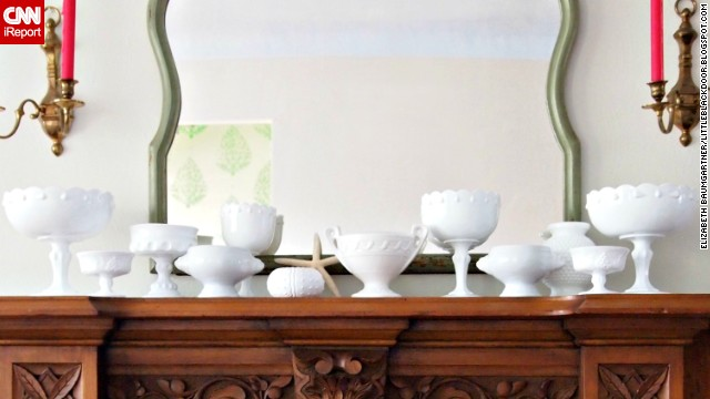 <a href='http://ireport.cnn.com/docs/DOC-1001799'>Elizabeth Baumgartner</a> of St. Louis doesn't have a fireplace, but she does have a mantel, which houses a light and airy milk glass collection.