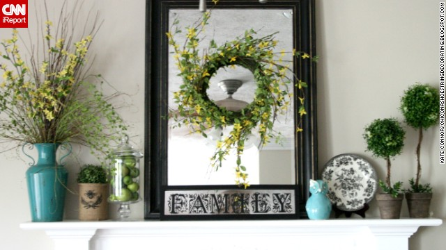 <a href='http://ireport.cnn.com/docs/DOC-1002377'>Kate Connor</a> from Illinois kept her budget in mind while creating this colorful mantel display for summer.
