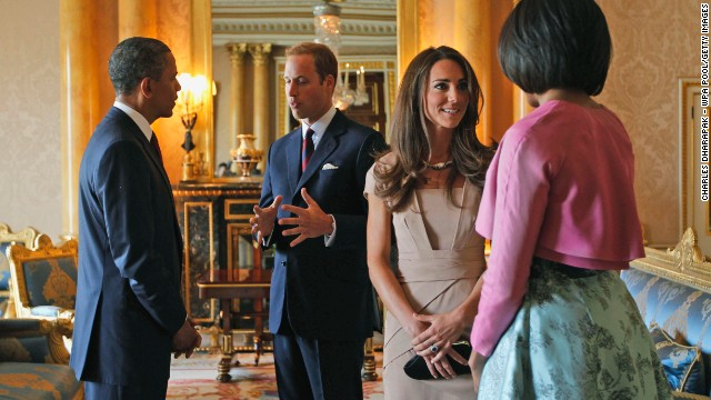 U.S. President Barack Obama and first lady Michelle Obama meet with the royal couple at Buckingham Palace on May 24, 2011.