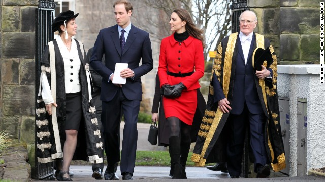 The pair returned to St. Andrews for a tour, accompanied by chancellor Sir Menzies Campbell, right, on February 25, 2011. They returned to their alma mater to launch a fundraising campaign for a new scholarship.
