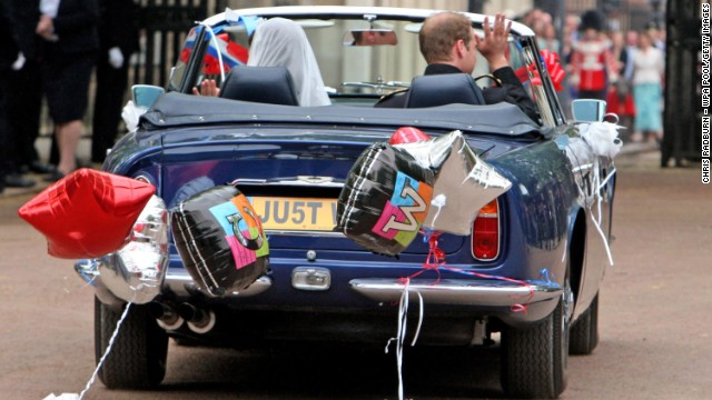 After their wedding on April 29, 2011, the duke and duchess drive from Buckingham Palace to Clarence House in a vintage Aston Martin.