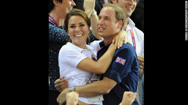 Catherine and Prince William celebrate during track cycling events at the Olympic Games in London on August 2, 2012.