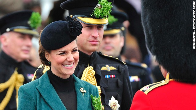 The couple attended a St. Patrick's Day parade by the 1st Battalion Irish Guards as they visit Aldershot Barracks on March 17 in Aldershot, England.