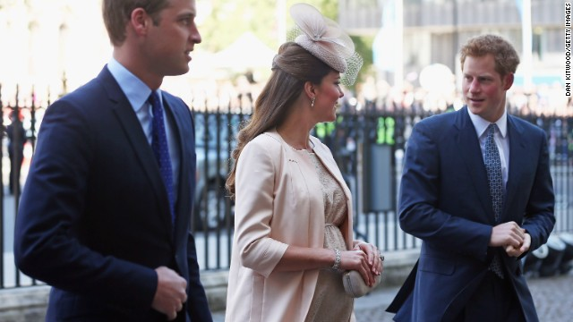 Prince William, Catherine and Prince Harry arrive for a service of celebration last month marking the 60th anniversary of the coronation of Elizabeth II at Westminster Abbey in London on June 4, 2013.