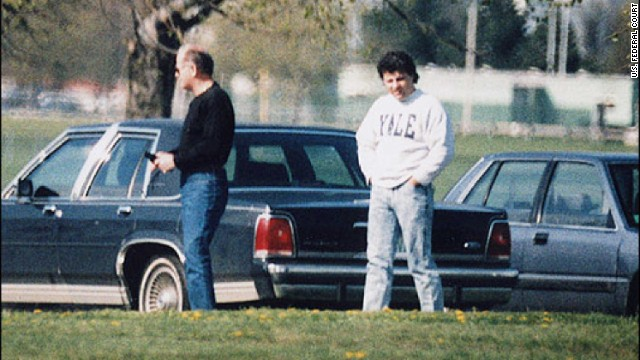This undated surveillance photo released on Monday, July 8, by the U.S. Attorney's Office at federal court in Boston shows Bulger, left, with his former right-hand man, Kevin Weeks. Weeks took the witness stand at Bulger's racketeering trial and described a double slaying, multiple extortions and drug dealing.