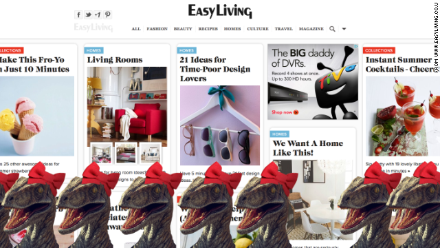 Red bows adorn dinosaurs on <a href='http://www.easyliving.co.uk/' target='_blank'>Easy Living</a>.