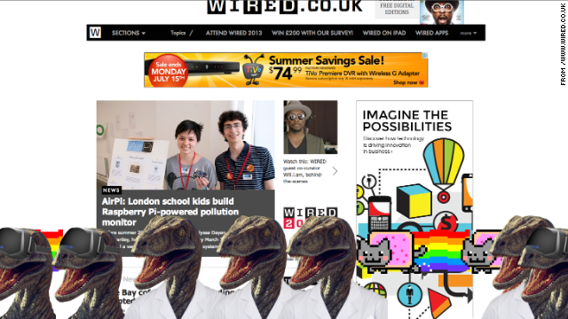 The Nyan cat joins a white-coated dinosaur on the <a href='http://www.wired.co.uk/' target='_blank'>Wired UK</a> site.