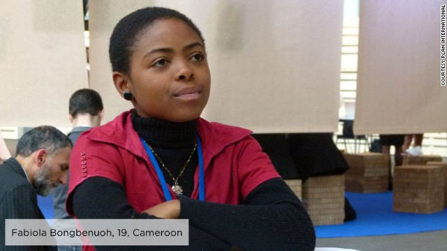 As a secondary school student in rural Cameroon, Fabiola, 19, became a member of <a href='http://plan-international.org/where-we-work/africa/cameroon' target='_blank'>Plan Cameroon's </a>Youth Empowerment through Technology, Arts and Media project, producing youth media to raise awareness around gender issues and help girls' access their rights.<!-- --> </br><!-- --> </br>In 2011, she participated in the 55th Session of the Commission on the Status of Women and was inspired to establish Girls on the Front (G-Front), an association that aims to ensure girls have more opportunities to promote and defend their rights locally, nationally and internationally.