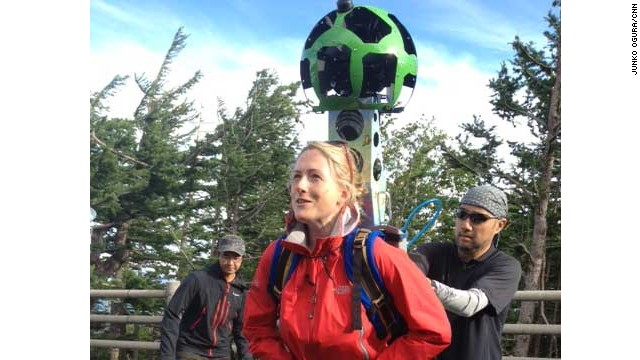 Magnay tries on one of the Google camera backpacks as the team prepares to climb Mount Fuji to survey the route.