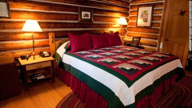 Authentic log walls, handmade quilts and down comforters make nights cozy in the Jenny Lake Lodge cabins in Grand Teton National Park.