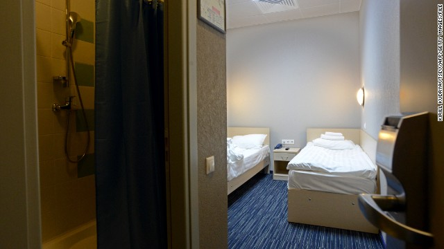 "A view of one of the rooms in the Capsule Hotel ""Air Express"" in Terminal F."