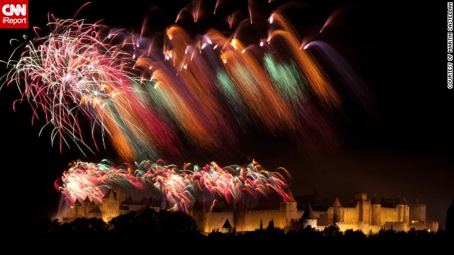 Photographer Martin Castellan, 62, took this color cascading photo of the Bastille Day fireworks in the city of Carcassonne in the south of France. Bastille Day is celebrated on July 14 and commemorates the storming of the Bastille prison in Paris in 1789 -- an event which triggered the French Revolution. Mr Castellan says the city's 11th century castle was built by the Cathars, a Christian sect seeking protection from the Pope's armies, and in 1991 it doubled for Nottingham in Kevin Costner's Robin Hood - Prince of Thieves film.