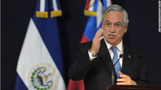 The President of Chile Sebastian Pinera in his official visit to El Salvador on June 4, 2013.