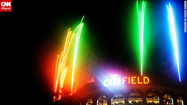 "Frank Vitucci, 37, took this colorful photo during this year's Fourth of July fireworks display at the New York Mets Citi Field ballpark. ""The game was delayed two hours, so I had to wait until 12:30am to capture the images. I had just enough time to catch my train back to Connecticut,"" says the Director of Photography."