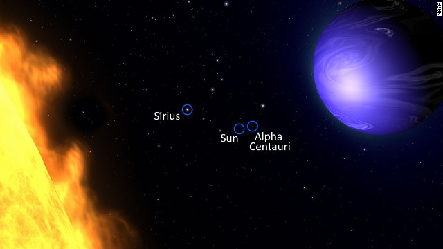 This illustration shows a deep azure planet that astronomers found orbiting a star 63 light years away.