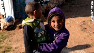 Refugee children in Lebanon\'s Bekaa Valley.