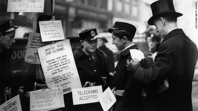 A telegram stall on a city street on 11 January, 1941.
