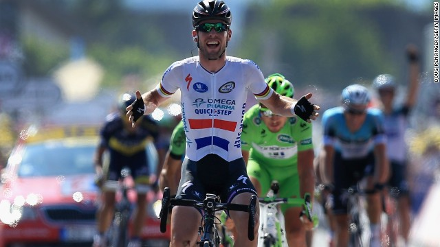 Mark Cavendish lost a sprint finish Thursday at the Tour de France but came out on top Friday in the 13th stage.
