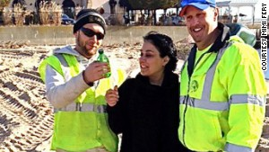 FEMA workers Garrett Rivers and Brian Waldron, who discovered the note in December, gave it to Sidonie\'s mother, Mimi.