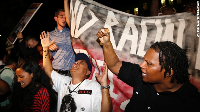 Protesters chant outside the Seminole County courthouse in Sanford, Florida, after Zimmerman was found not guilty on July 13.