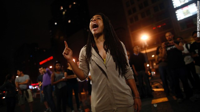 A protester shouts in the streets of New York on July 13.