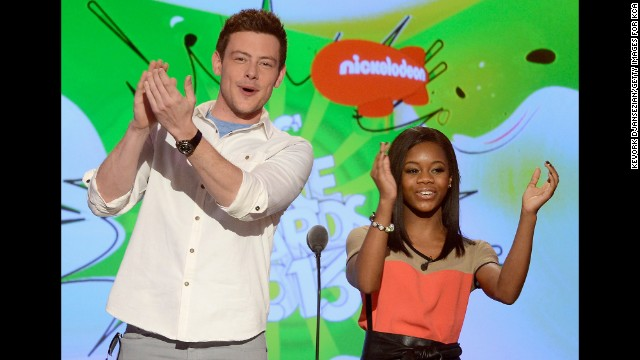 Monteith and Olympic gymnast Gabby Douglas appear at the Kids' Choice Awards on March 23 in Los Angeles.