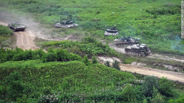 Russian tanks move across Sakhalin Island on July 16.