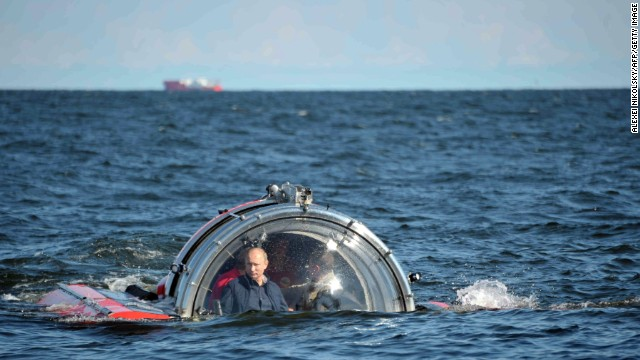 Putin submerges on board Sea Explorer 5 bathyscaphe near the isle of Gogland in the Gulf of Finland on July 15.