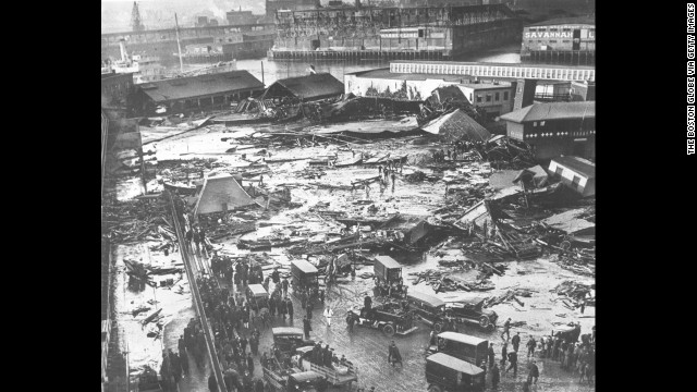 Boston Molasses Disaster: In January 1919, a tank containing 2.3 million gallons of molasses ruptured in Boston, causing a 15-foot high wall of molasses to pummel houses and leave 21 people dead and 150 injured.