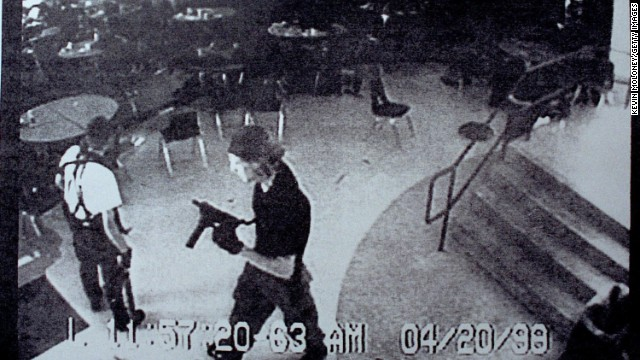 Eric Harris, left, and Dylan Klebold entered Columbine High School in Littleton, Colorado, on April 20, 1999, armed with bombs and guns. The students killed 13 and wounded 23 before killing themselves.