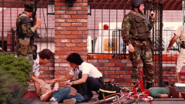 James Huberty shot and killed 21 people, including children, at a McDonald's in San Ysidro, California, on July 18, 1984. A police sharpshooter killed Huberty an hour after the rampage began.