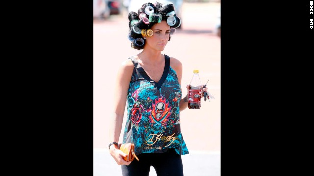 British model and TV personality Katie Price wears Ed Hardy casually, and was even <a href='http://www.dailymail.co.uk/tvshowbiz/article-1263023/Katie-Price-misses-PR-opportunity-goes-leisurely-morning-trot-horse.html' target='_blank'>spotted riding horses while wearing an Ed Hardy bomber</a>.