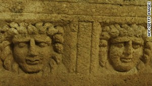 A Roman sarcophagus found at Heliopolis. The temple was far vaster than anything seen in Rome itself.