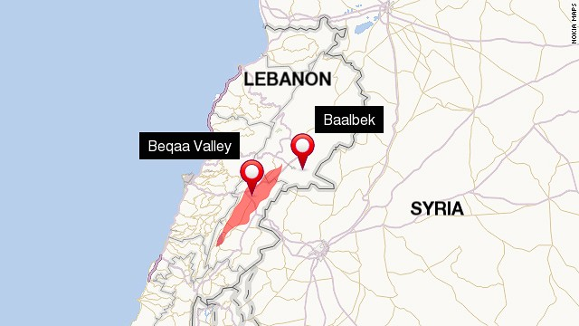 Location of Beqaa Valley and Baalbek