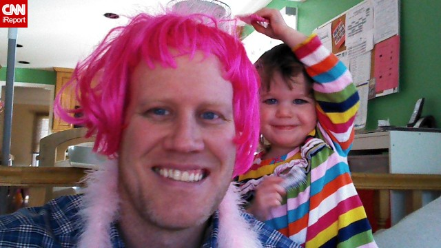 """When it comes to your children you learn that you will do just about anything to make them happy. If it means being silly and putting on a wig and doing my best high voice during a tea party, I will do it,"" says full-time dad of three Chris Bernholdt. (<a href='http://ireport.cnn.com/docs/DOC-999046'>Read his story.</a>)"