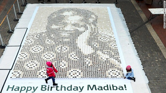 SOUTH AFRICA: A giant mosaic of Mandela made from 5,000 cups of coffee is displayed at Constitutional Hill in Johannesburg.