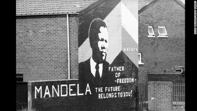 NORTHERN IRELAND: A Mandela mural is displayed on a home in Northern Ireland.