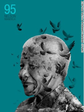 The Mandela Poster Project is exhibiting images of Nelson Mandela from around the world. This poster is the work of Carlos Andrade, from Venezuela.