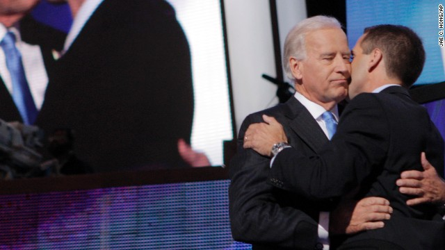 Delaware Attorney General Beau Biden embraces his father, Vice President Joe Biden, at the Democratic National Convention in 2008.