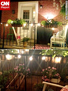 <a href='http://ireport.cnn.com/docs/DOC-1003447'>Jill Chappell</a> made the most of her tiny backyard and deck with white string lights, rugs and lots of plants.