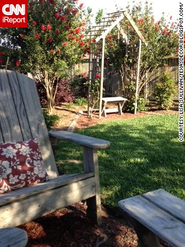 <a href='http://ireport.cnn.com/docs/DOC-1004294'>Lisa Sullivan</a> re-purposed her children's old wooden play set by building her own Adirondack chairs.