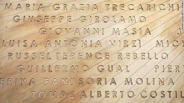 A commemorative plaque honoring the victims of the cruise disaster is unveiled in Giglio on January 14, 2013.
