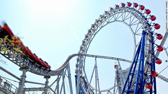 "The Big O stands tall in Tokyo Dome City entertainment and shopping complex. Tokyo's largest roller coaster, ""Thunder Dolphin,"" runs directly through the centerless Ferris wheel and can reach speeds of around 80 mph."