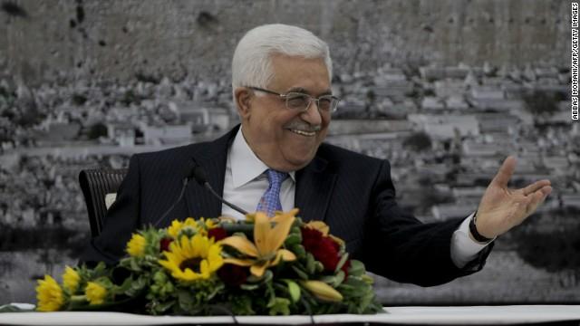 Palestinian President Mahmoud Abbas speaking in Ramallah.