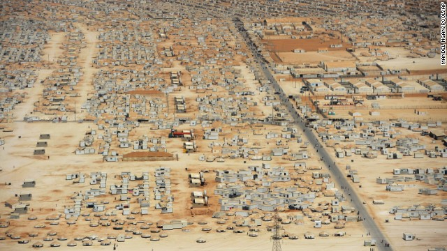 The expanse of the Zaatari refugee camp in Jordan as seen from an aerial view on July 18. The camp was opened on July 28, 2012, and is home to more than 130,000 refugees.
