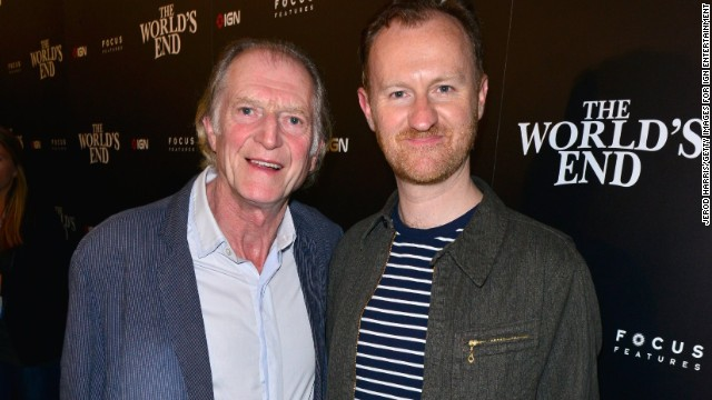 Actors David Bradley and Mark Gatiss attend a Comic-Con party on July 18, 2013.