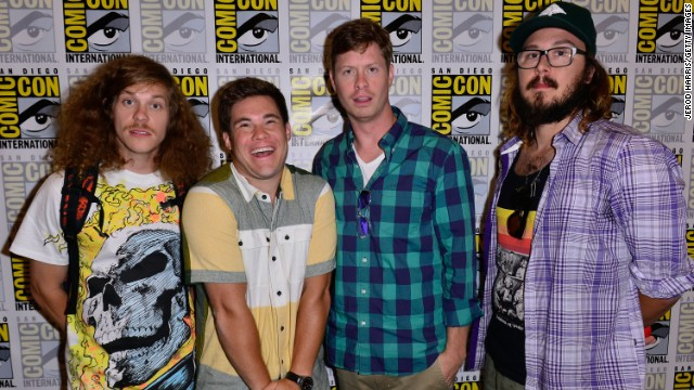 "Blake Anderson, left, Adam DeVine, Anders Holm and Kyle Newacheck attend Comedy Central's ""Workaholics"" press line at the Hilton San Diego Bayfront Hotel on July 18."