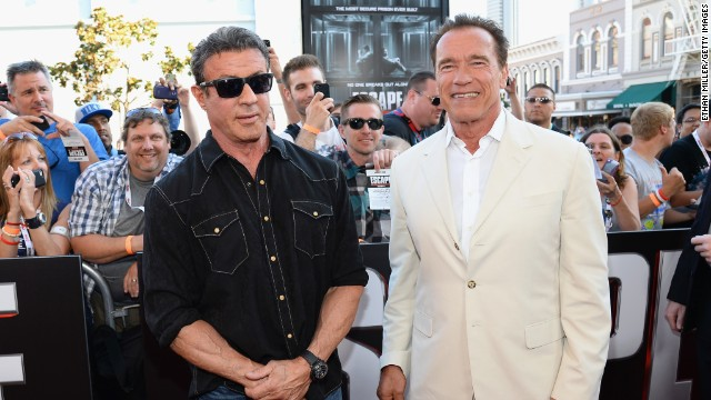 "Sylvester Stallone and Arnold Schwarzenegger arrive at the ""Escape Plan"" premiere at the Reading Cinemas Gaslamp on July 18. ""Escape Plan"" will be out in theaters on October 18."