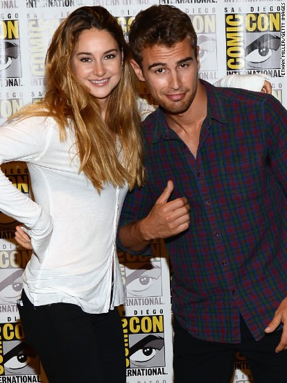 """Divergent"" co-stars Shailene Woodley and Theo James attend San Diego Comic-Con on July 18."