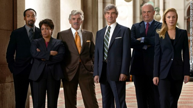 "Jesse L. Martin, from left, S. Epatha Merkerson, Farina, Sam Waterston, Fred Thompson, and Elisabeth Rohm pose as their ""Law and Order"" characters in 2004."